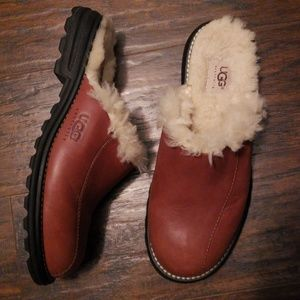 UGG Brown Leather Mules Size 8